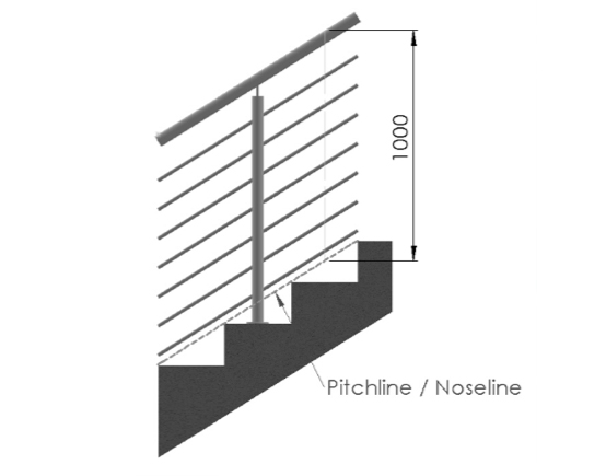 steel studio drawing illustrating staircase height